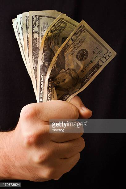 Hand Squeezing Twenty Dollar Bills, Controlling Currency, Finances, and Wealth