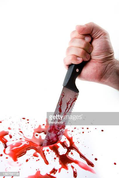 Hand Stabbing on White Background