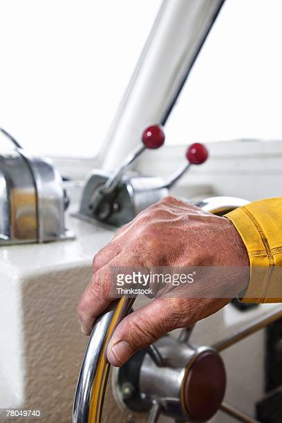 Hand steering boat