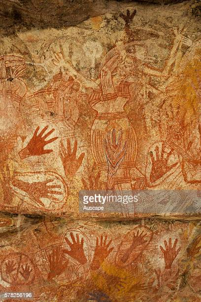 Hand stencils and paintings of figures in the Main Art Site Rock art at Mount Borradaile dates back many thousands of years Mount Borradaile...