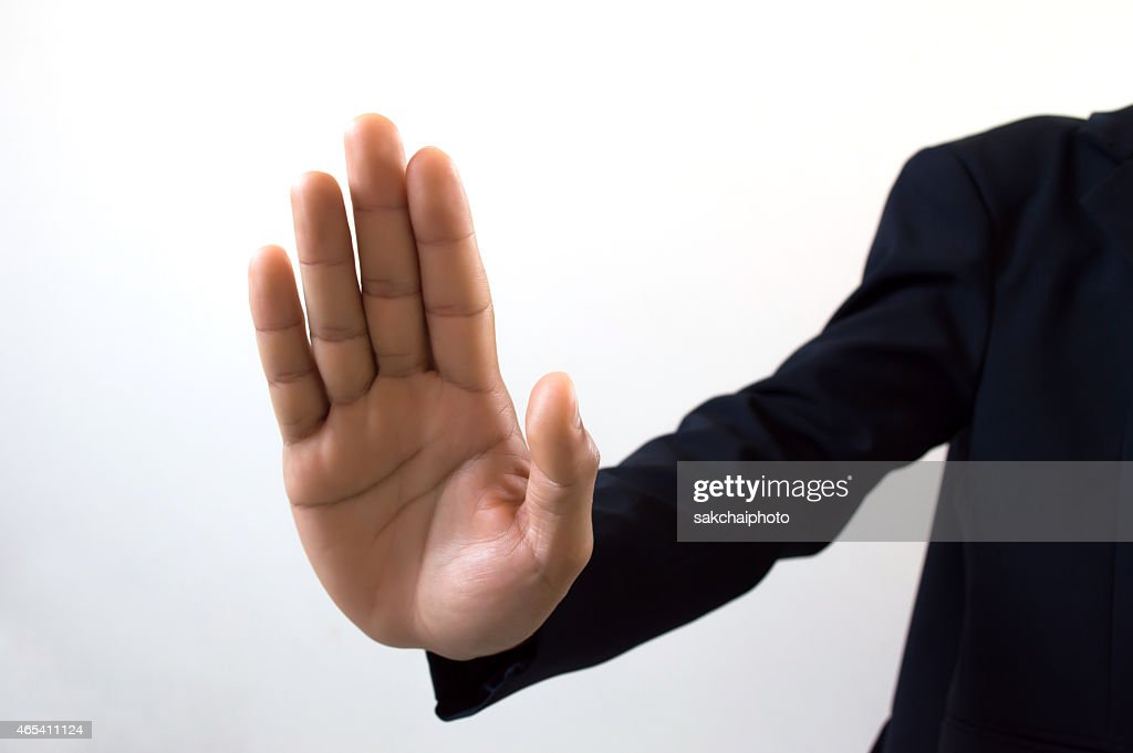 Hand Symbol That Means Stop On White Background Stock Photo Getty