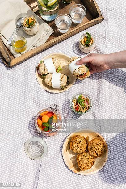 hand taking sandwich from picnic blanket with vegetarian snacks - jars with salad stock pictures, royalty-free photos & images