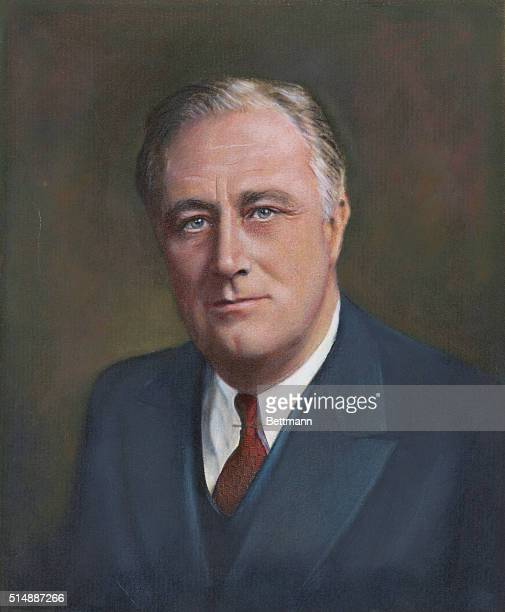 Hand tinted photographic portrait of Franklin Delano Roosevelt 32nd President of the United States