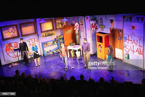 Hand To God cast members Michael Oberholtzer Geneva Carr Steven Boyer Bob Saget and Sarah Stiles attend the curtain call when Bob Saget Joins The...