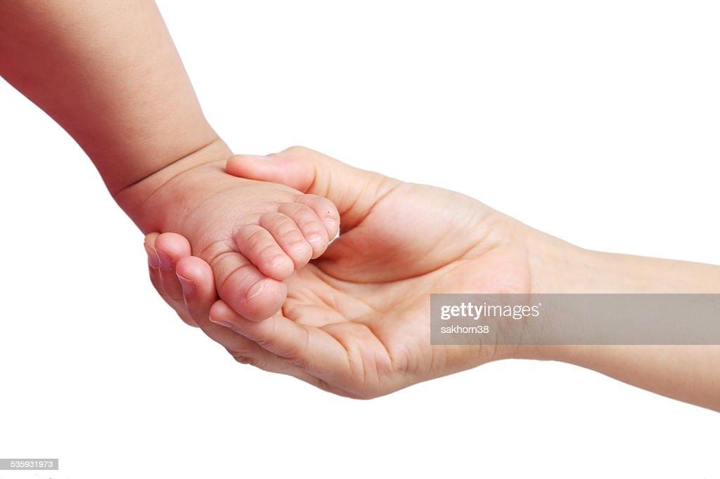 hand touching baby toe isolated on white background. : Stock Photo
