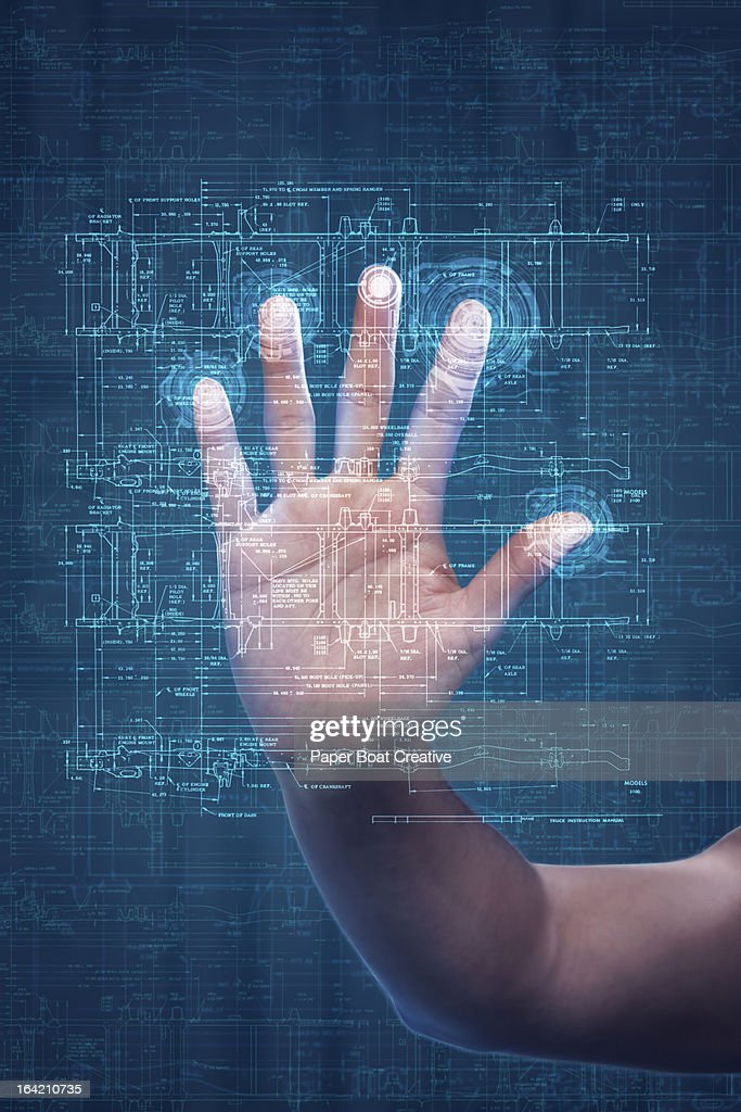Hand touching digital scanner in studio background : Stock Photo