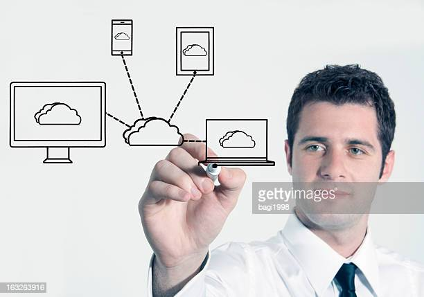 Hand using marker to draw network diagram