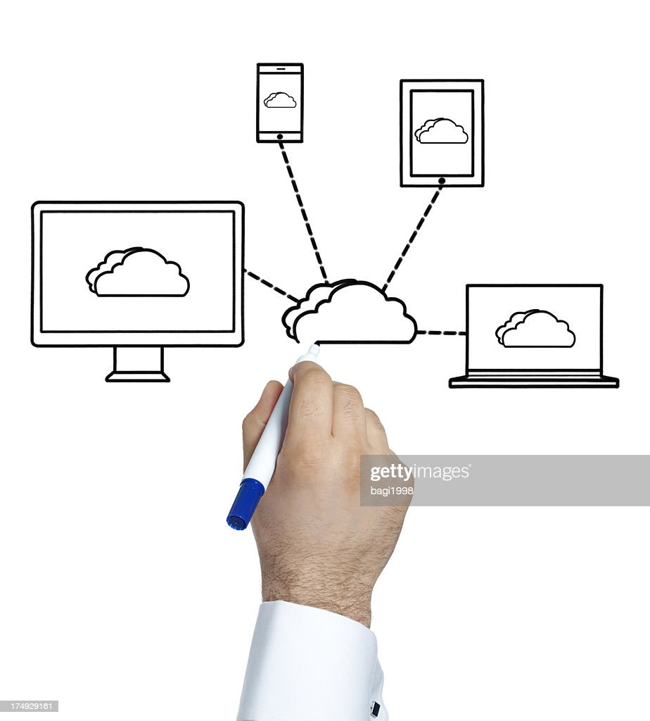 How To Draw A Network Diagram | Hand Using Marker To Draw Network Diagram Stock Photo Getty Images