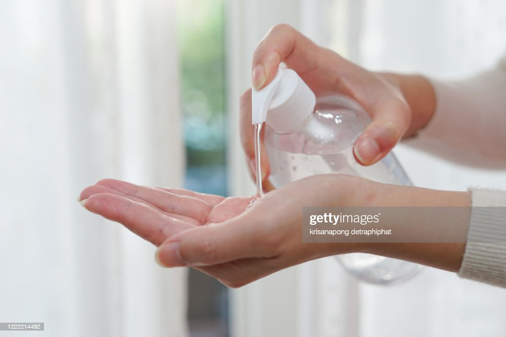 Hand washing gel prevents coronavirus infection,coronavirus,Alcohol gel and face mask,Hand gel : Stockfoto