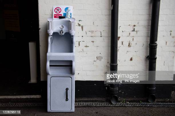 A hand washing station in the playground at the Jewellery Quarter Academy in Birmingham ahead of the return of students later in the week