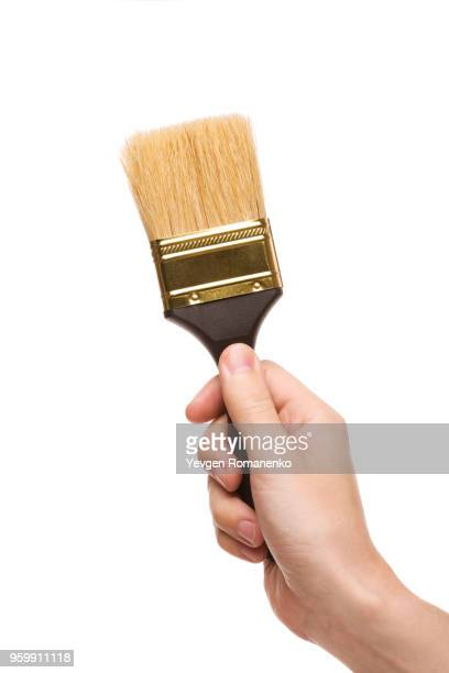 hand with a brush isolated on white background - paintbrush stock pictures, royalty-free photos & images