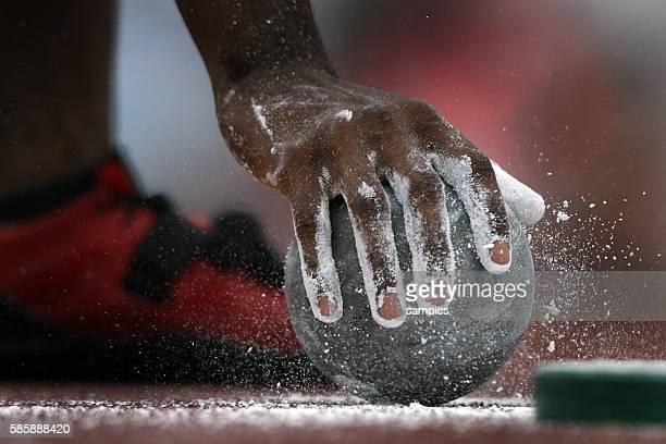 Hand with magnesia and ball during the 11th IAAF World Championships in Athletics at Nagai stadium of Osaka Japan