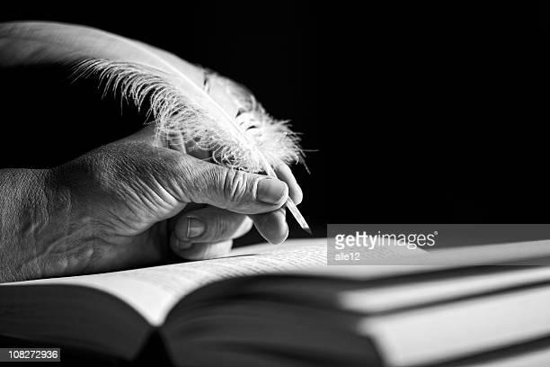 Hand mit quill