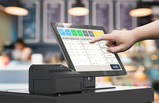 hand working cashier machine 803878494