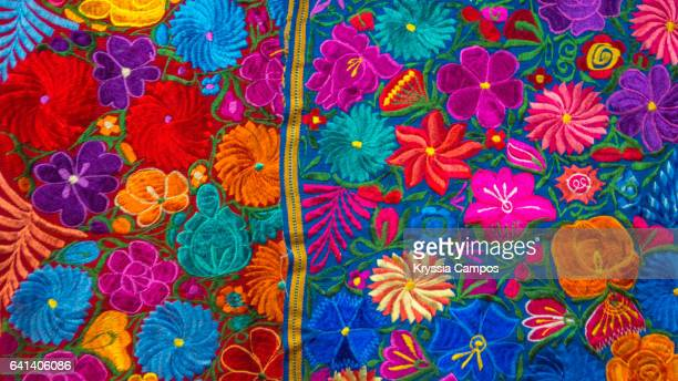 Hand woven patterned tablecloths for sale at Atitlan Guatemala
