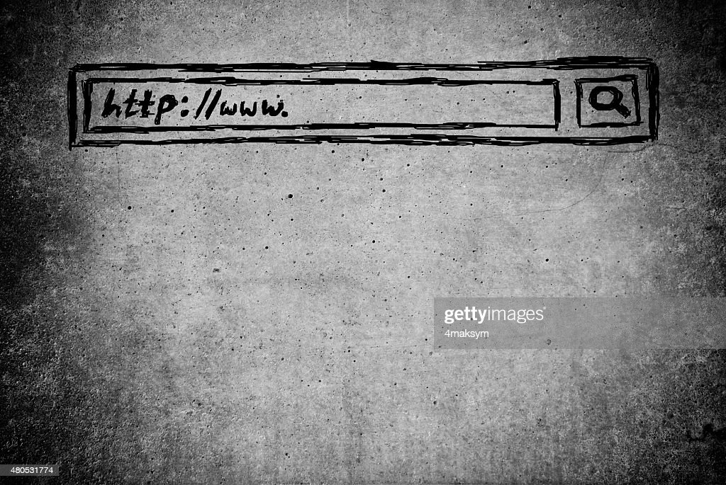 hand writen Search bar in browser : Stock Photo
