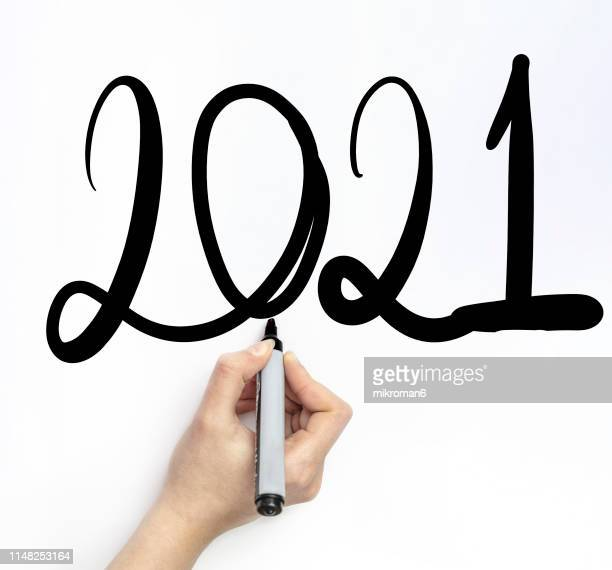 hand writing 2021 new year with chalk in white board - dessin erotique photos et images de collection
