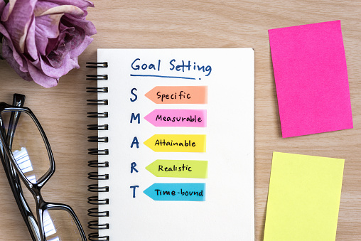 Hand writing definition for smart goal setting on notebook 547434156