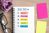 Hand writing definition for smart goal setting on notebook