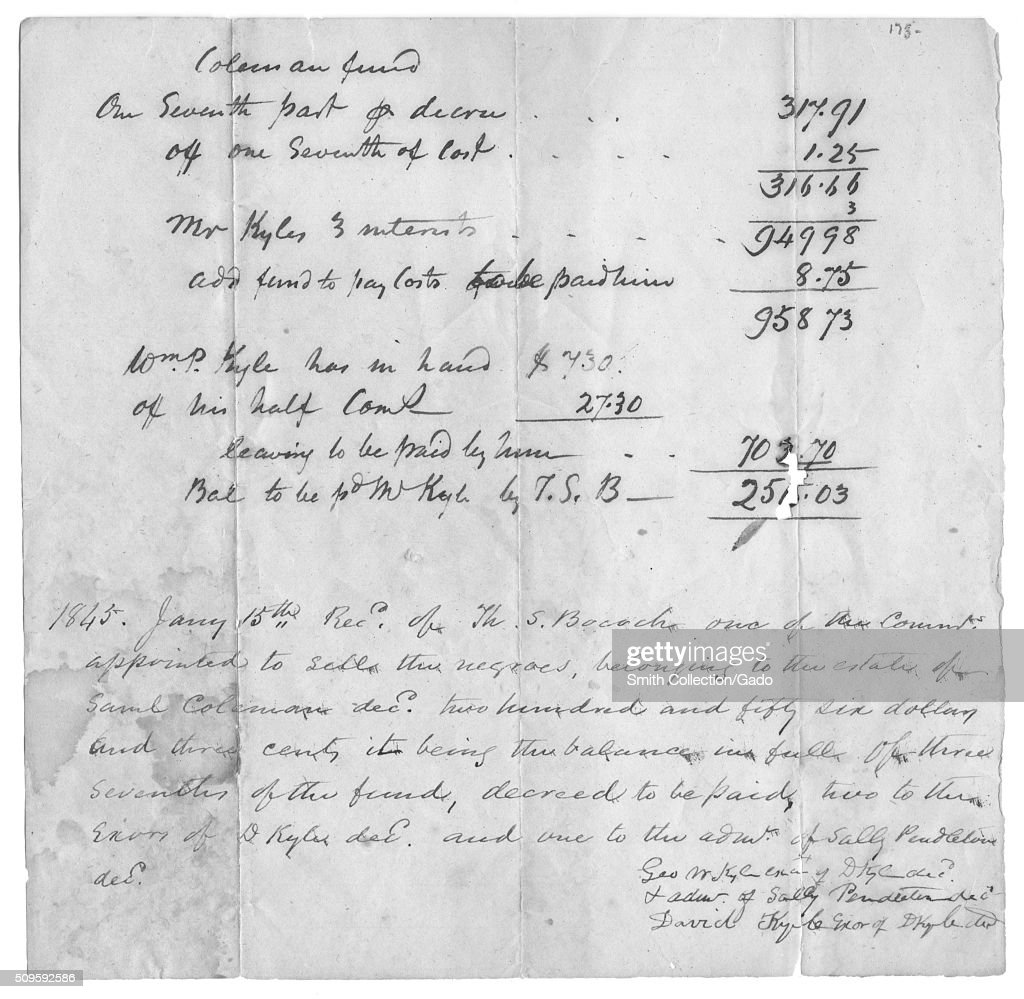 a hand written bill of sale for slaves in order to settle an estate