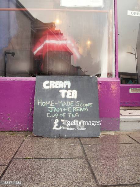 hand written cream tea cafe sign - editorial stock pictures, royalty-free photos & images