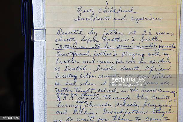 A hand written page that is part of a Rosa Parks archive is seen during a press event at the Library of Congress James Madison Memorial Building on...