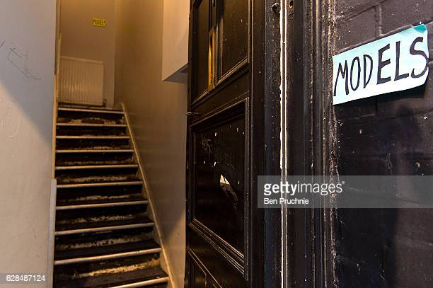 A hand written sign with the word models is stuck to the entrance of a Soho property on March 29 2016 in London England Long established as the West...