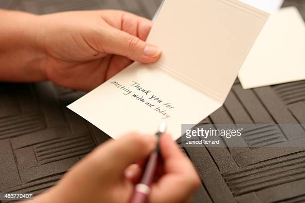 hand written thank you note - message stock pictures, royalty-free photos & images