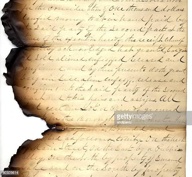 hand written vintage letter with burnt edges - history stock pictures, royalty-free photos & images