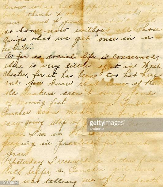 hand written water damaged vintage letter - writing stock pictures, royalty-free photos & images