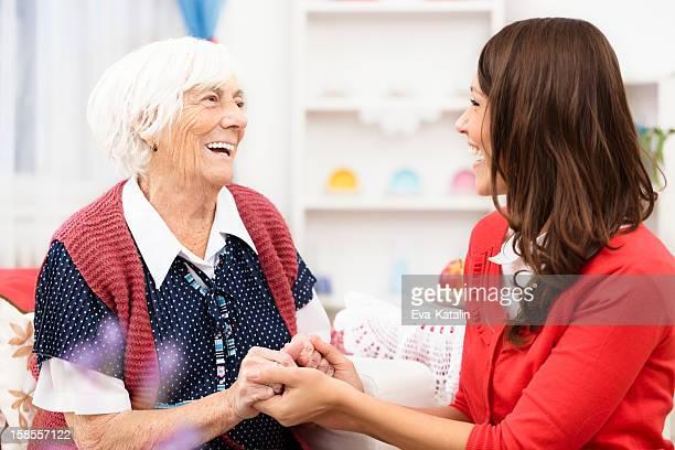 hand_in_hand - beautiful granny stock-fotos und bilder