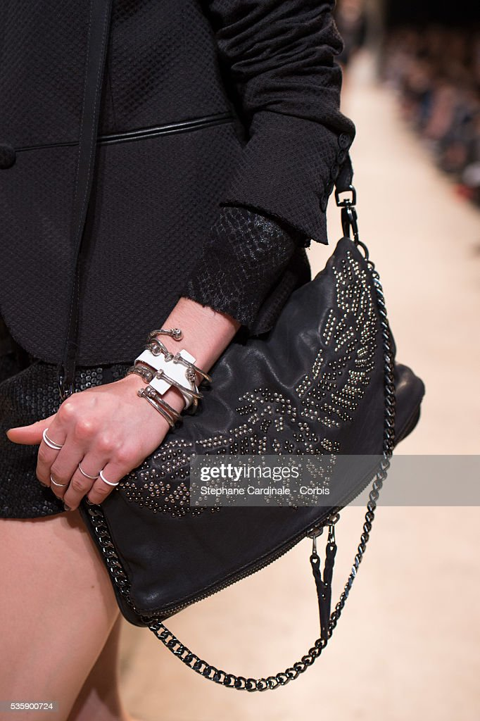 Handbag carried by a model is seen as she walks the runway during the Zadig & Voltaire show at 'Palais de Tokyo', as part of the Paris Fashion Week Womenswear Spring/Summer 2014, in Paris.