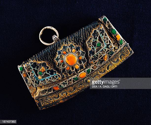 Handbag for carrying flint in metal, silver, coral and gems as used by Mongol horsemen. Mongolia.