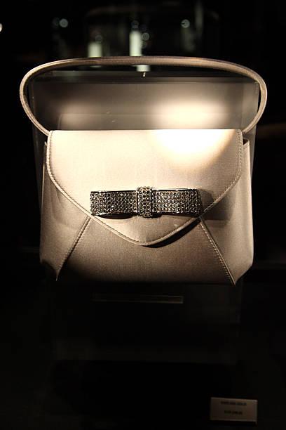 Handbag with crystal decorations display in Swarovski shop inside Swarovski Crystal Worlds.