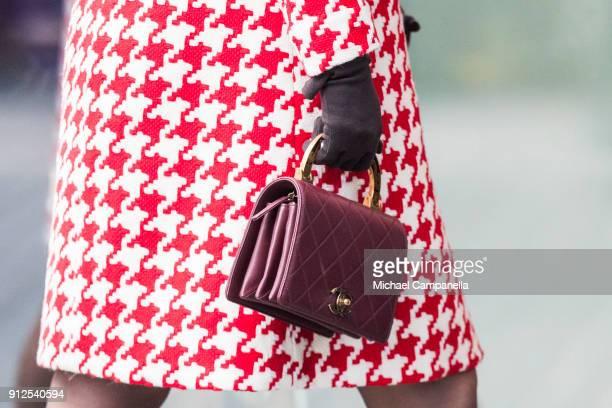 Handbag worn by Catherine Duchess of Cambridge when arriving at Karolinska Hospital on January 31 2018 in Stockholm Sweden