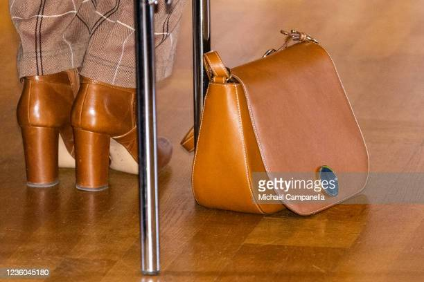 Handbag worn by Crown Princess Victoria of Sweden while attending the WWFs annual meeting at Ulriksdals Castle on October 22, 2021 in Solna, Sweden.