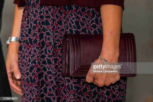 Handbag worn by Crown Princess Victoria of Sweden while visiting the Maxim Theater on October 1, 2020 in Stockholm, Sweden. The Maxim Theater is one...