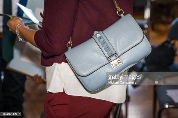 Handbag worn by Princess Victoria of Sweden while attending the WWF's autumn meeting at Ulriksdals Palace on October 10 2018 in Stockholm Sweden