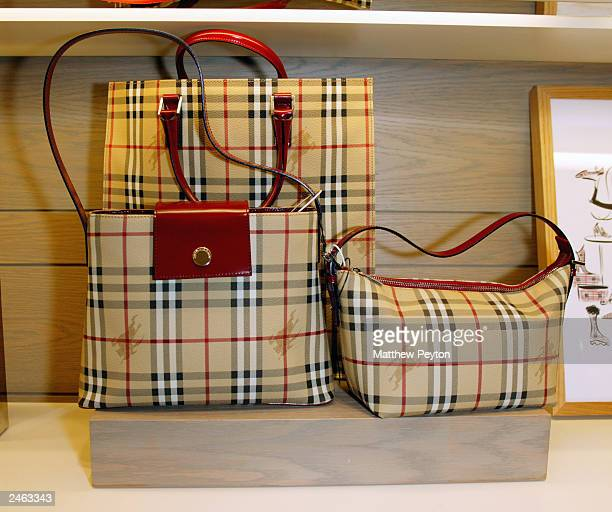Handbags are shown at the Burberry Accessory Shop opening reception to benefit Safe Horizon at Bloomingdales September 4, 2003 in New York City.