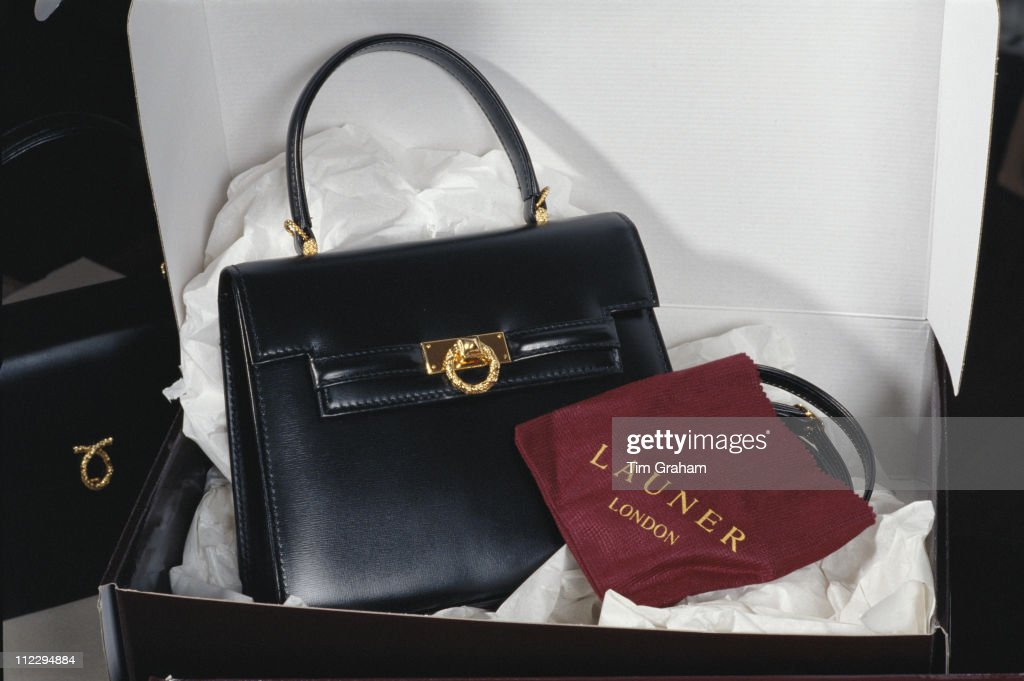 Handbags by Launer, manufacturers leather goods to Queen Elizabeth II, London, England, Great Britain, 23 February 1996.