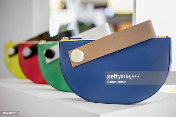 Handbags by the label Matter Matters are displayed at the Designer Showcase during the Vogue Fashion Dubai Experience 2015 at The Dubai Mall on...
