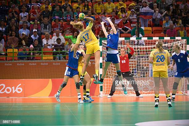 2016 Summer Olympics Sweden Linnea Torstensson in action vs Russia Victoria Zhilinskayte during Women's Preliminary Round Group B match at Future...