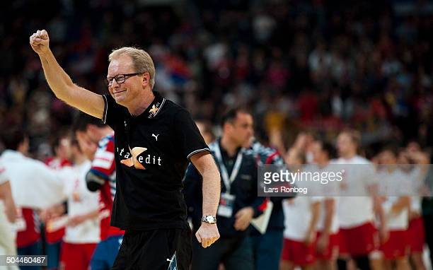 Handball FINAL Serbien vs. Denmark - DENMARK is European Champions in Men's Handball 2012 - Landstræner / Teamcoach Ulrik Wilbek, Danmark / Denmark....