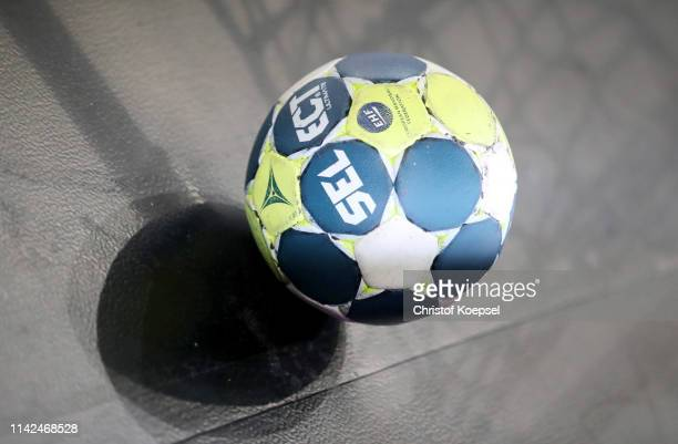 Handball Select during the 2020 EHF European Championship Qualifier match between Germany and Poland at Gerry Weber Stadium on April 13, 2019 in...