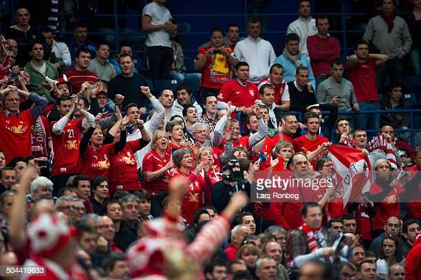 Handball Semifinal Spain vs. Denmark in Belgrade - Danish fans. ©Lars Rønbøg / Frontzonesport