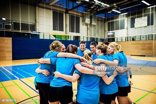Handball team demonstrating team spirit