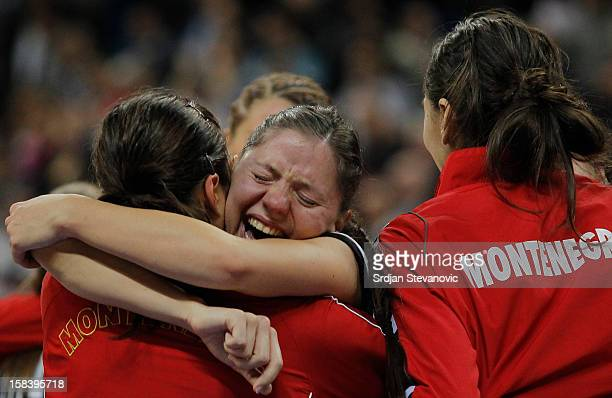 Handball team players of Montenegro celebrate victory against Serbia the Women's European Handball Championship 2012 semifinal match between Serbia...