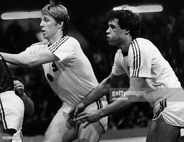 Handballweltmeisterschaft Dänemark 1978:- Erhard Wunderlich und Arno Ehret in Erwartung eines Angriffs- 1978