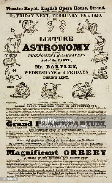 Handbill advertising a series of lectures on astronomy and the phenomena of the heavens and earth to be given at the Theatre Royal, English Opera...