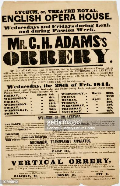 Handbill advertising a series of lectures on astronomy to be given at the Lyceum, or the Theatre Royal, English Opera House by C H Adams. The...